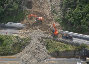 Debris flow over State Highway 1. (Source: GNS Science.)