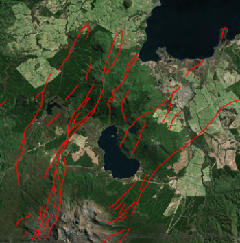 Map showing the active faults in the Turangi-Rotoaira area