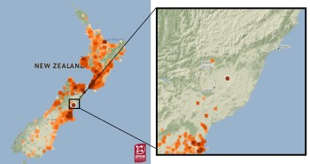 Felt reports for the 2016 Kaikoura earthquake, highlighting the gap in reports around the areas badly damaged.