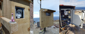 Two of the web camera sites on Whakaari/White Island showing the camera housing and of course, our camera mascot 'Dino'