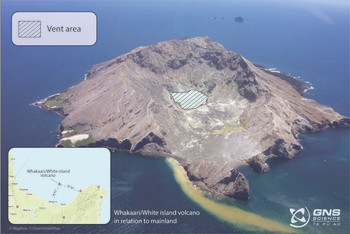 Photo of Whakaari/White Island from 2004, showing the marked vent area.