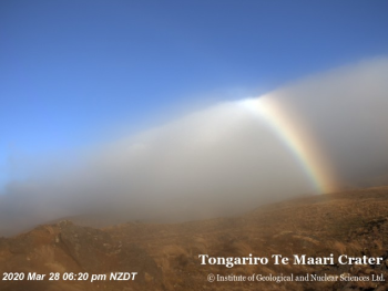 Our volcano cams often capture some stunning sights - recently our Te Maari (Tongariro) cam snapped this rainbow