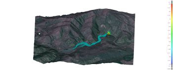 Computer-generated model of landslide dam and upstream flooding.