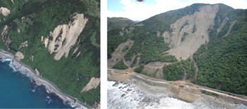 Before and after Gita at Half Moon Bay. (Source: Google Earth and GNS Science.)