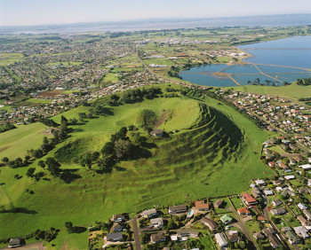 Aerial View of Mt. Mangere scoria cone in Auckland (GNS VML 2598).