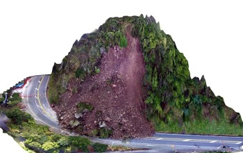 Three-dimensional model of the Ngaio Gorge landslide from across the valley (Will Ries / GNS Science)