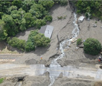 Debris flow at Rosy Morn, south of Kaikoura township. (Source: GNS Science.)