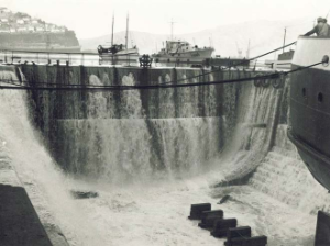 The Lyttleton Drydock after tsunami damage (Chile 1960).