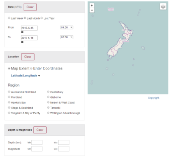 GeoNet Quake Search Tool