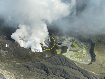 White Island crater area showing the active vent (circled).