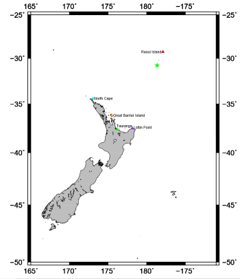 The map shows the apparent source of the seismic waves (green star) and the surrounding pressure gauges that recorded tsunami waves (shown by the coloured triangles).