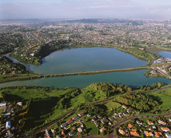Aerial view of Orakei Basin, a typical maar volcano in Auckland. (GNS VML 2577)