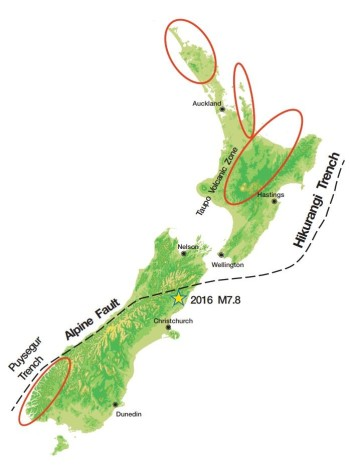 Focused areas of increased seismicity following on from M7.8 Kaikoura quake.