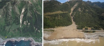 Before and after Gita near Paparoa Point, north of Kaikoura township. (Source: Google Earth and GNS Science.)