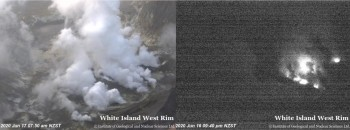 Views of the Whakaari/White Island crater from our West Rim camera during the day and night.