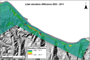 LiDAR elevation difference