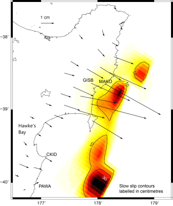 Slow-slip model - black arrows show horizontal displacement of GPS sites over the last month, and the colours represent estimated slow slip movement along the Hikurangi subduction plate boundary