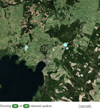Location of earthquakes near Taupo today