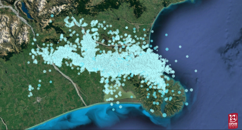 Darfield aftershock sequence year one. All magnitude 1 and above aftershocks are shown on the map