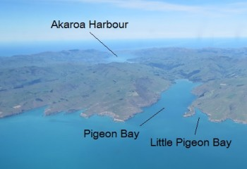 Some of Banks Peninsula's funnels.  Looking south over Pigeon Bay and Little Pigeon Bay.  Photo: Helen Jack.