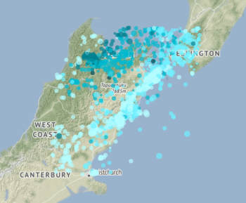 Some of the Kaikōura aftershocks from 14/11/17-14/11/18
