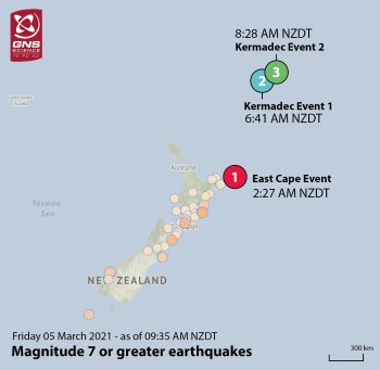 Location of the three large earthquakes