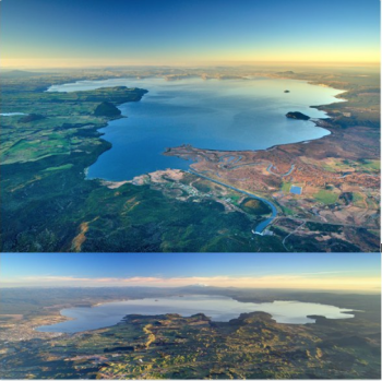 Aerial views of Taupo Volcano. Photo: D Townsend/GNS Science.