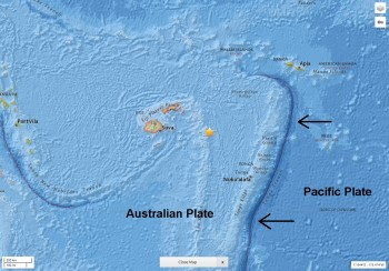 The earthquake (epicentre at yellow star) occurred on the downgoing Pacific Plate, which is being subducted (pushed) under the Australian Plate along the Tonga Trench, east of Tonga.  Map adapted from USGS.