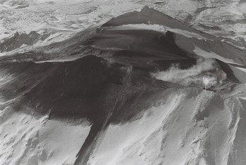 The summit of Mt Ruapehu after the 1969 eruption, note the lahar path