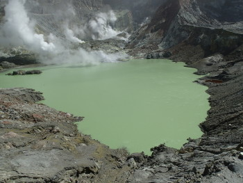 The newly formed Crater Lake at White Island